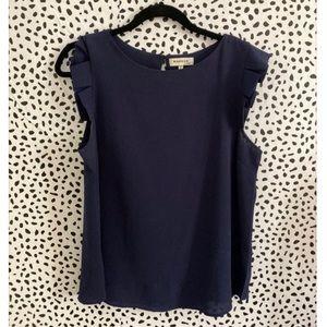 Cute navy flutter sleeve blouse